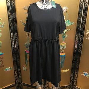 NEW black short sleeve babydoll dress